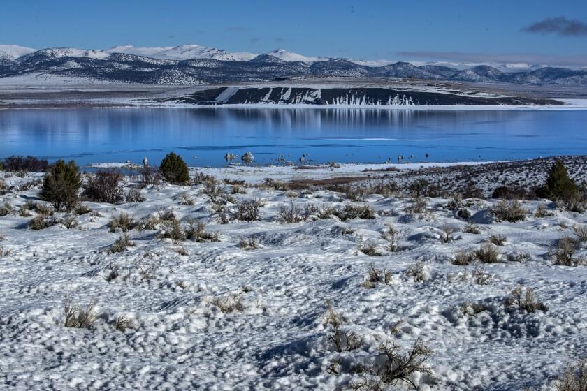 Snowy mountains across Mono Lake.