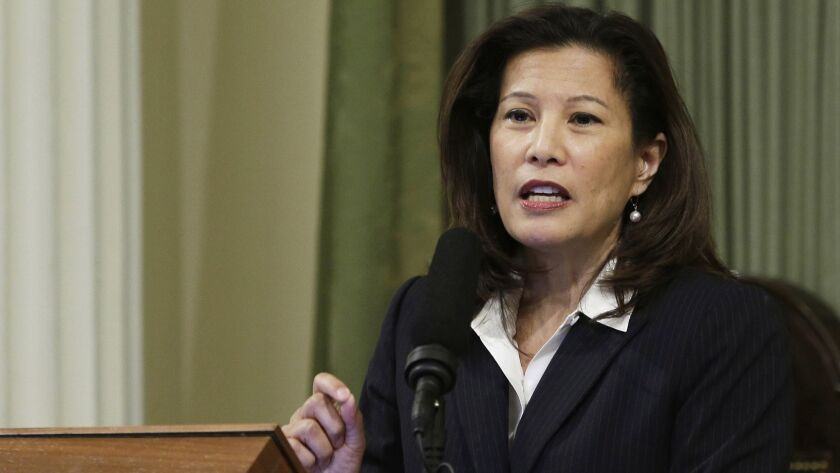 "The California Supreme Court heard arguments in a case involving a state law that sought to rein in pension costs by doing away with ""air time"" -- years that state workers could add to their work history by paying a fee. Above, Chief Justice Tani Cantil-Sakauye."