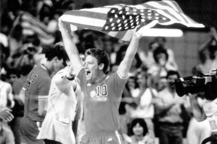 Team captain Chris Marlowe exults after team wins gold medal in volleyball in 1984 Olympics.