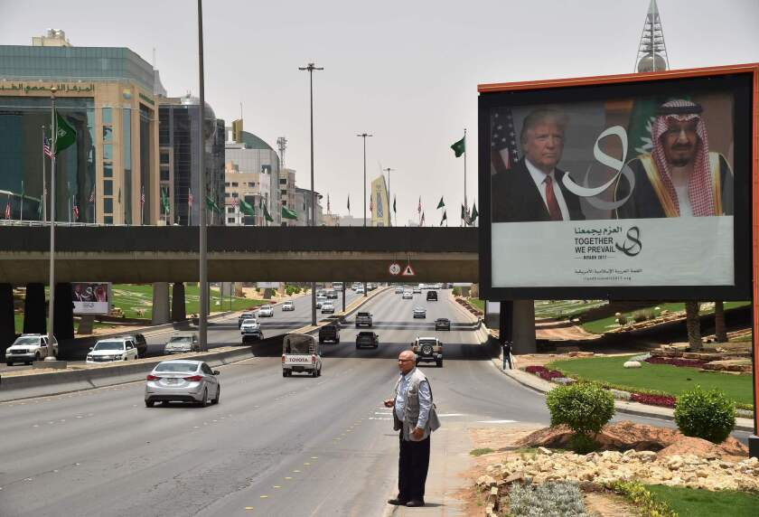 A billboard on a main road in Riyadh, Saudi Arabia, has portraits of President Trump and King Salman.