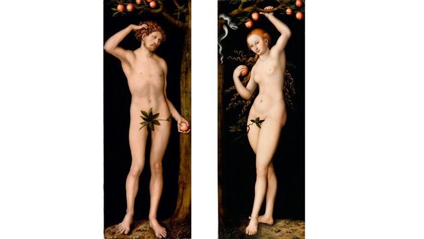 """""""Adam"""" and """"Eve,"""" a pair of oil-on-panel paintings created by Lucas Cranach the Elder circa 1530."""