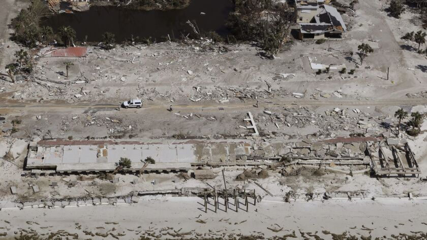 Homes washed away by Hurricane Michael are shown in this aerial photo Thursday in Mexico Beach, Fla.
