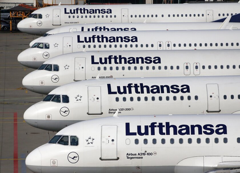 In this April 2, 2014 file picture Lufthansa aircrafts are parked as Lufthansa pilots went on a three-days-strike in Frankfurt, Germany. A union representing cabin crews at Germany's Lufthansa is calling members out on strike in a contract dispute with the airline. The UFO union earlier this week t