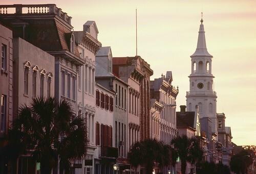 Charleston's Historic Broad Street at Dusk