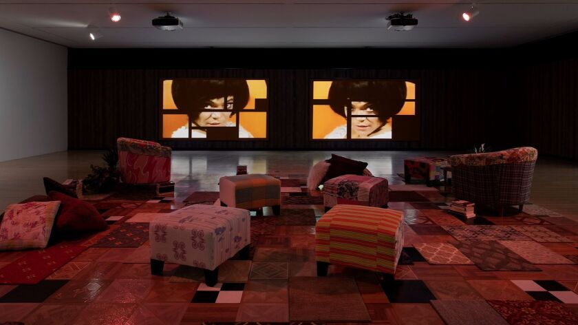 "Installation view of ""Mickalene Thomas: Do I Look Like a Lady?"" at the Museum of Contemporary Art."