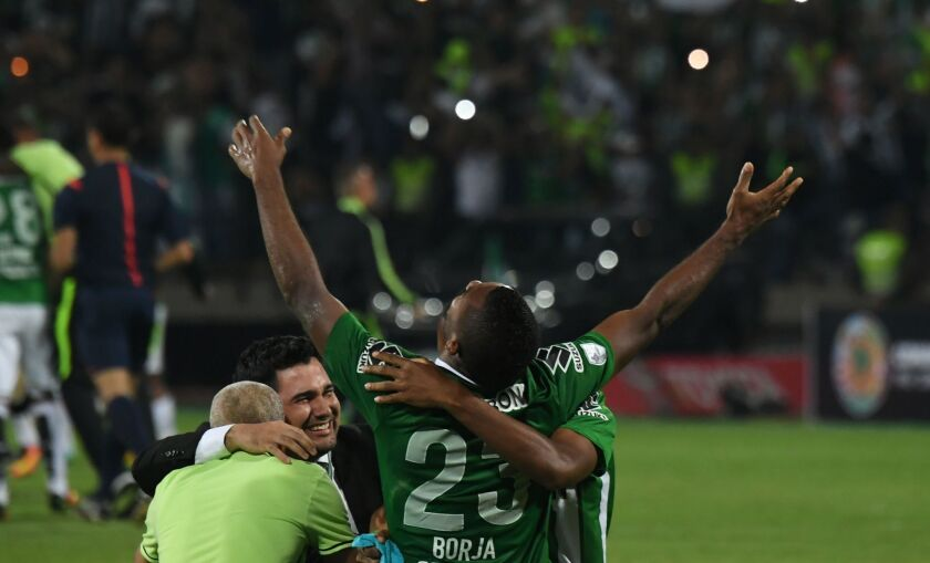 Colombia's Nacional Miguel Angel Borja celebrates after winning the Libertadores Cup second leg final match against Ecuador's Independiente del Valle at the Atanasio Girardot stadium in Medellin, Colombia on May 27, 2016. / AFP PHOTO / Luis AcostaLUIS ACOSTA/AFP/Getty Images ** OUTS - ELSENT, FPG, CM - OUTS * NM, PH, VA if sourced by CT, LA or MoD **