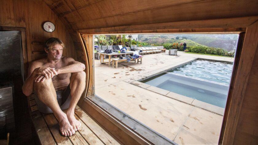 MALIBU, CALIF. -- THURSDAY, MAY 30, 2019: Laird Hamilton takes a sauna following a morning workout i