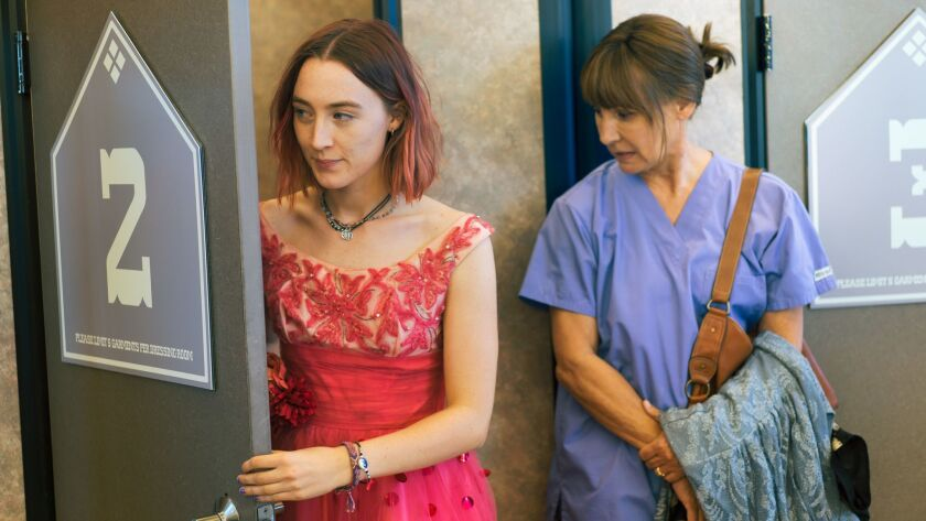 "This image released by A24 Films shows Saoirse Ronan, left, and Laurie Metcalf in a scene from ""Lady"