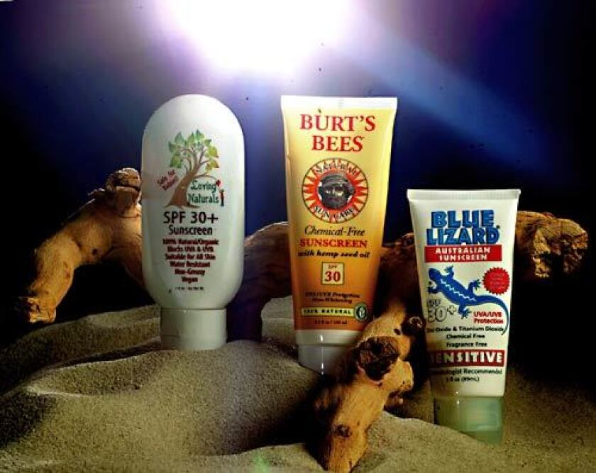 """The active ingredients in """"natural"""" sunscreens work by physically blocking the sun's rays."""