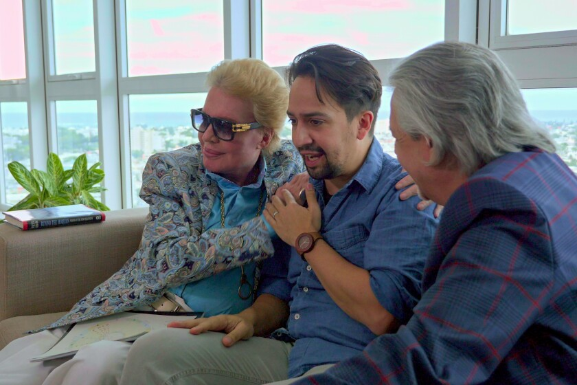"Walter Mercado meets with Lin-Manuel Miranda and Luis Miranda in ""Mucho Mucho Amor."""