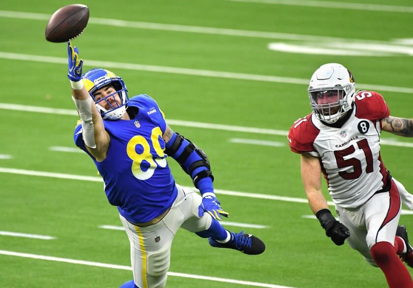 Rams tight end Tyler Higbee can't make the catch in front of Arizona Cardinals linebacker Tanner Vallejo.