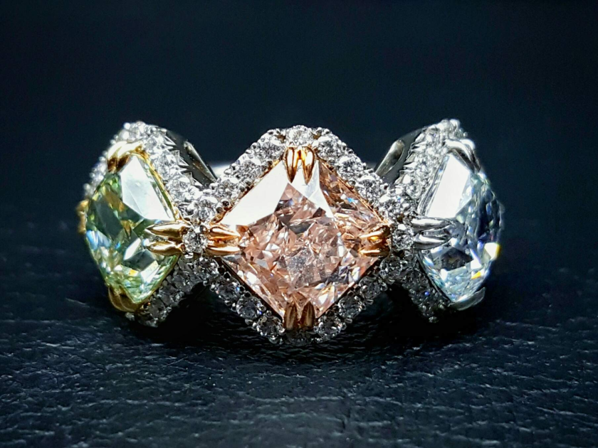 A multi-colored diamond ring that is among several pieces of jewelry at the heart of a lawsuit New Orleans Saints quarterback and former Chargers player Drew Brees and his wife, Brittany, have filed against a local jeweler over the value of $15 million in precious stones.