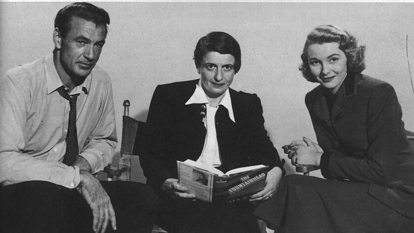 """Author Ayn Rand, center, with actors Gary Cooper and Patricia Neal, who starred in the 1949 film adaptation of """"The Fountainhead"""""""