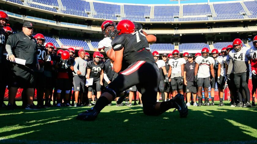 San Diego State offensive lineman Joe Salcedo (78), participating in a warrior drill at last year's Aztec Fan Fest, has returned after missing last season with a knee injury.