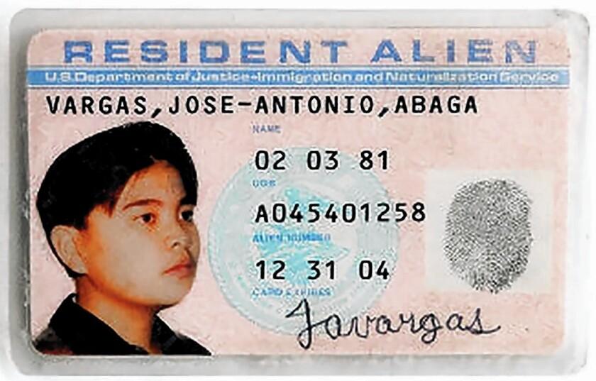Jose Antonio Vargas' resident alien card.