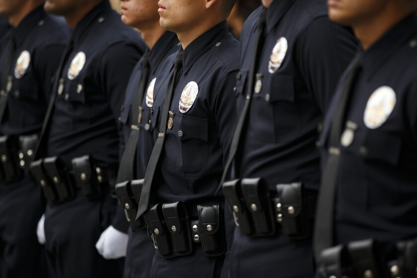 Los Angeles Police Department recruit officers graduate at the LAPD Parker Center Headquarters.