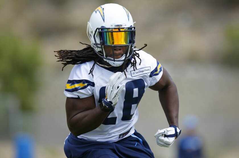 San Diego Chargers running back Melvin Gordon works out during a practice.