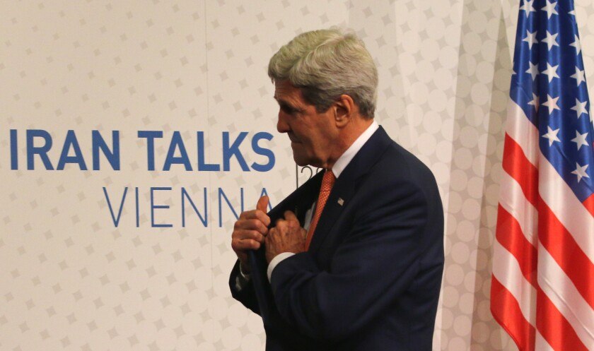 Secretary of State John F. Kerry leaves a news conference in Vienna on July 15 after closed-door nuclear talks on Iran's nuclear program.
