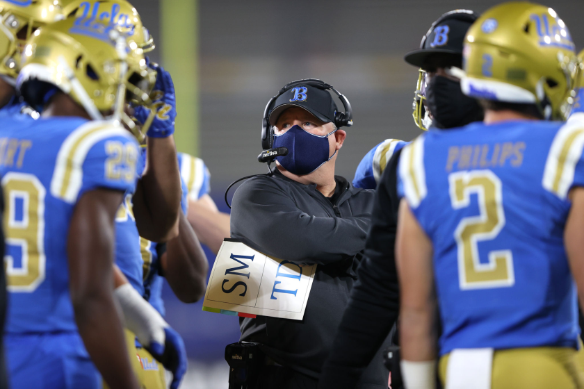 UCLA coach Chip Kelly looks on from the sideline during a loss to USC on Saturday.