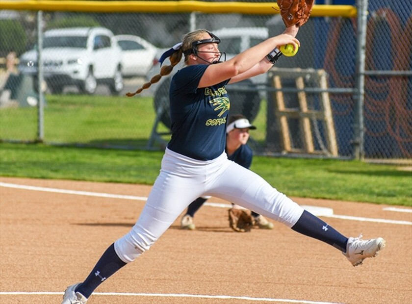 When she's not in the pitching circle, Del Norte freshman Emma Giaime plays first base for the Nighthawks softball team.