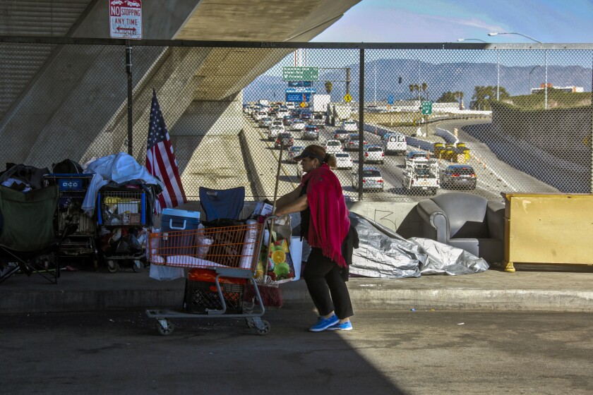 A number of homeless people live on the 42nd Street bridge above the 110 Freeway in Los Angeles.