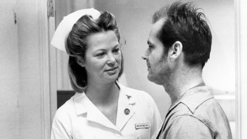 "Louise Fletcher and Jack Nicholson in ""One Flew Over the Cuckoo's Nest."""