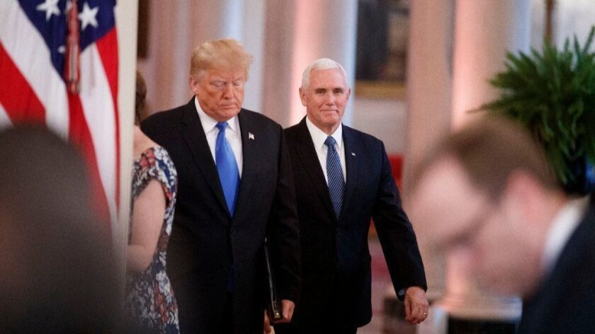 President Trump and Vice President Mike Pence arrive for a post-election news conference at the White House on Nov. 7.
