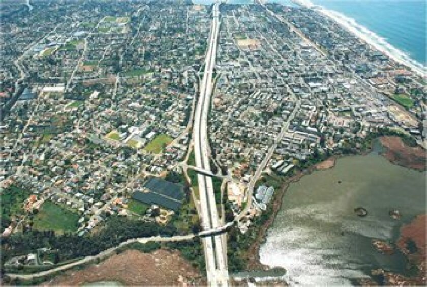 Aerial image of Interstate 5, which Caltrans plans to widen between La Jolla and Oceanside. Photo: Caltrans