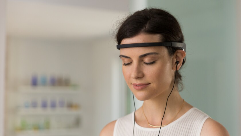 A brainwave-sensing headband, connects via Bluetooth to an app and lets you know when you lose focus.