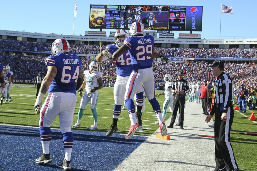 Buffalo Bills running back Karlos Williams (29) celebrates with teammates after rushing for a touchdown during the first half of an NFL football game against the Miami Dolphins, Sunday, Nov. 8, 2015, in Orchard Park, N.Y. (AP Photo/Bill Wippert)