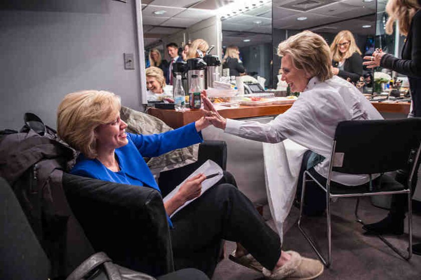 "Kate McKinnon, left, preparing to impersonate Hillary Clinton, right, on ""Saturday Night Live."""