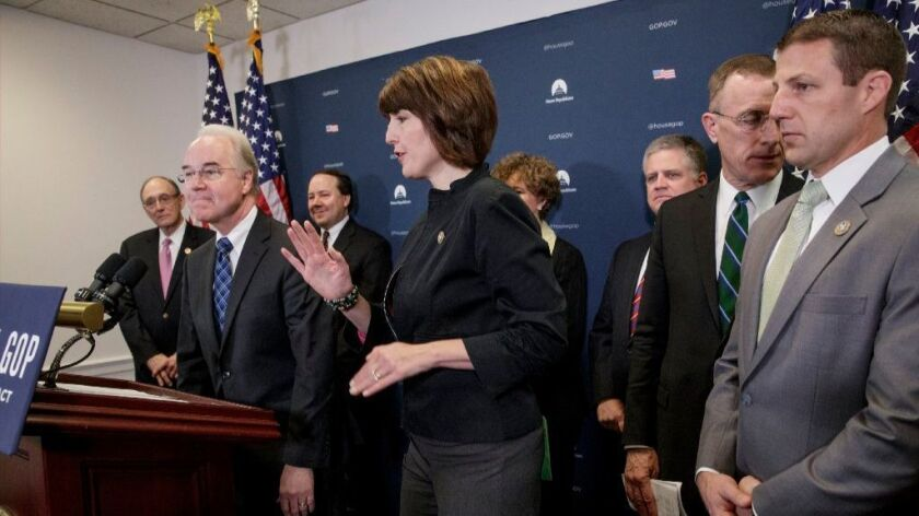 Health and Human Services Secretary Tom Price, second from left, and senior House Republicans discuss the party's plans to advance legislation to repeal the Affordable Care Act.