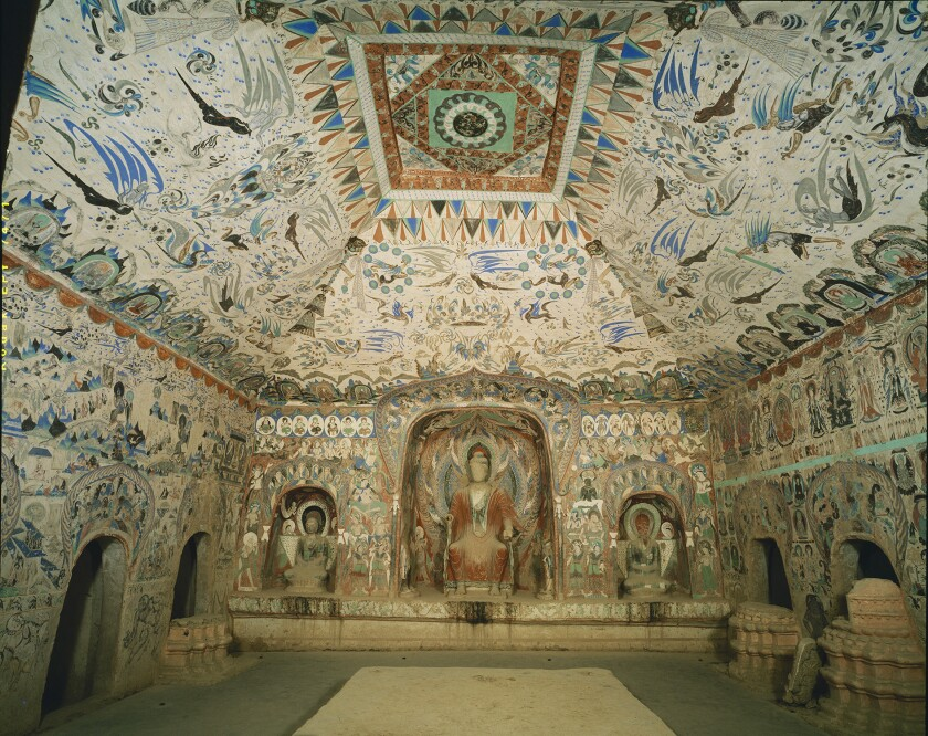 The actual Cave 285 at the Mogao Grottoes near Dunhuang, China.
