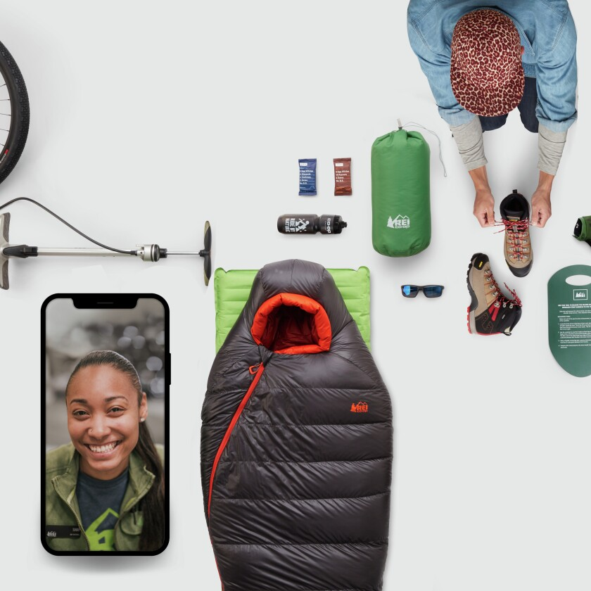 Illustrated photos with camping gear and photo of an iPhone with virtual outfitter on screen