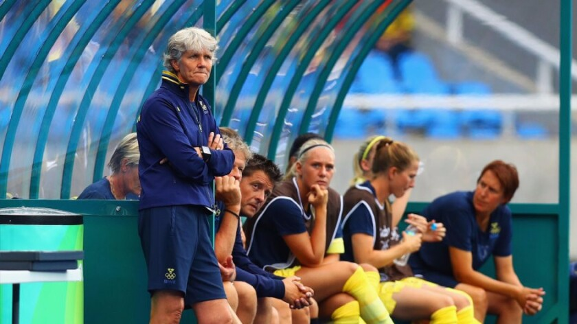 Sweden Coach Pia Sundhage looks on from the sideline during a Group E match against South Africa on Aug. 3.