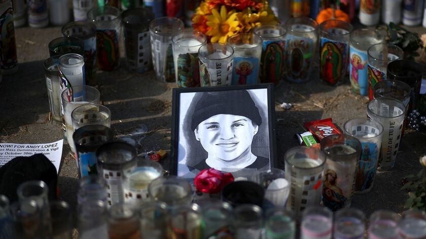 A picture of 13-year-old Andy Lopez sits at the center of a memorial in Santa Rosa, Calif., on Oct. 29, 2013.