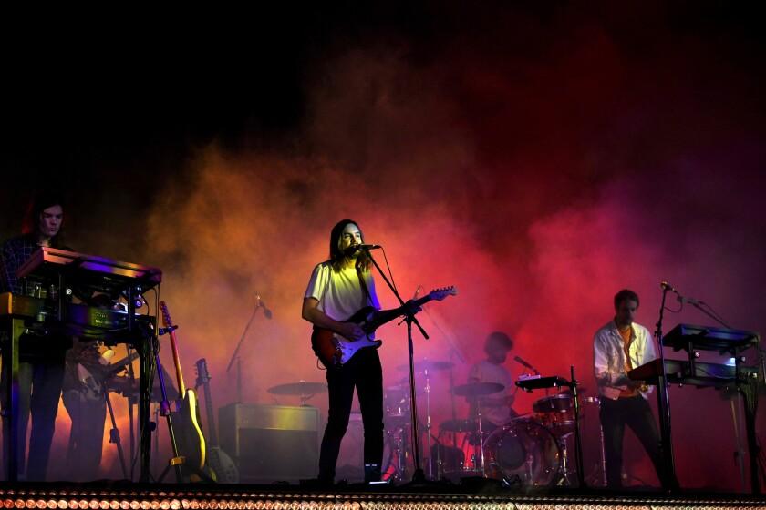 Tame Impala onstage at Coachella.