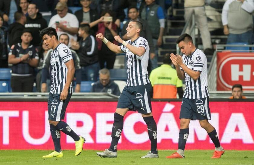 Monterrey's players celebrate after scoring a goal against Atlas during the Liga MX Apertura tournament match played on Nov. 24, 2018, at BBVA Stadium in Monterrey, Mexico. EPA-EFE/Miguel Sierra