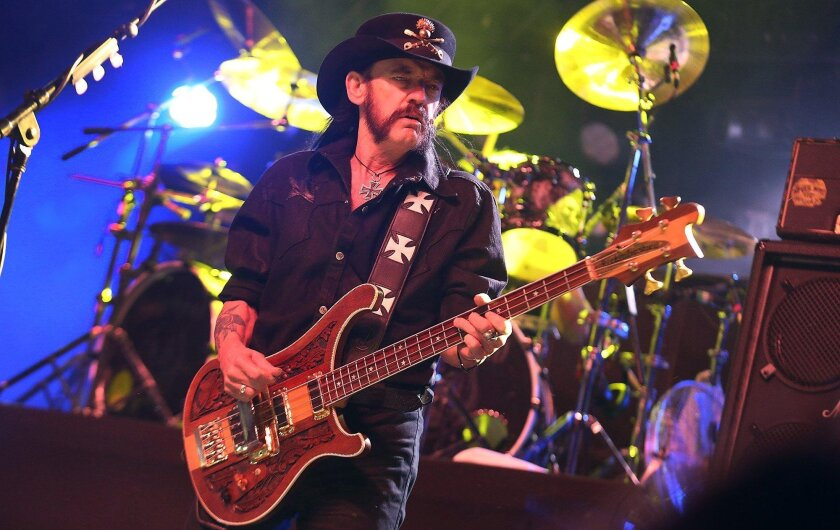 INDIO, CA - APRIL 13, 2014: Motorhead's Lemmy on stage for day three of the Coachella Valley Music and Arts Festival April 13, 2014 in Indio. (Brian van der Brug / Los Angeles Times)
