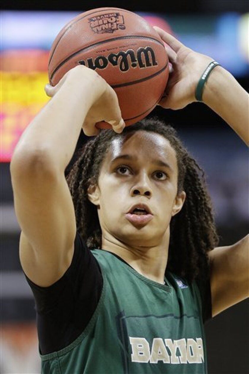 Baylor center Brittney Griner shoots during practice at the NCAA Women's Final Four college basketball tournament in Denver, Saturday, March 31, 2012. Baylor is scheduled to play Stanford in a national semifinal on Sunday. (AP Photo/Julie A. Jacobson)
