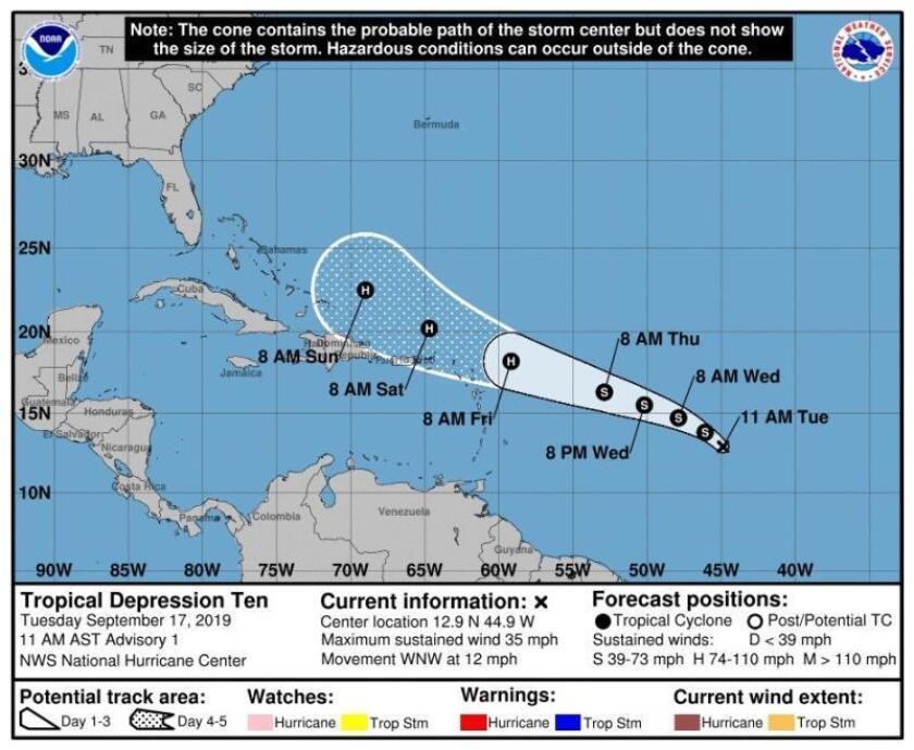 Fotografía cedida este martes por el Centro Nacional de Huracanes (NHC) donde se muestra el pronóstico de 5 días de la décima depresión tropical que según pronostican los meteorólogos se convertirá en huracán Imelda cuando se acerque al norte de las islas de Sotavento el jueves por la noche o el viernes. EFE/NHC/SOLO USO EDITORIAL/NO VENTAS