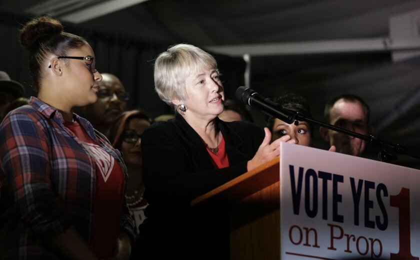 Houston Mayor Annise Parker speaks to supporters of the Houston Equal Rights Ordinance at a watch party Tuesday, Nov. 3, 2015, in Houston. The ordinance that would have established nondiscrimination protections for gay and transgender people in Houston did not pass. (AP Photo/Pat Sullivan)