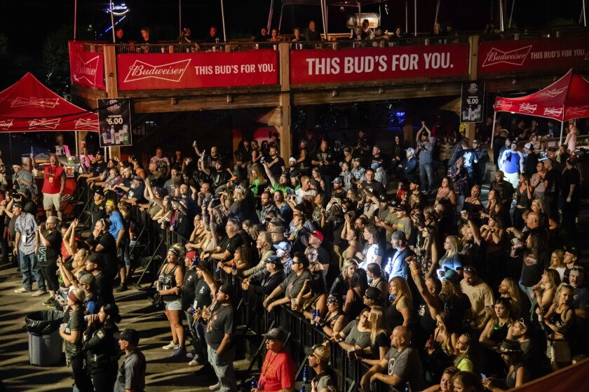 Fans attend a performance at the Sturgis Motorcycle Rally