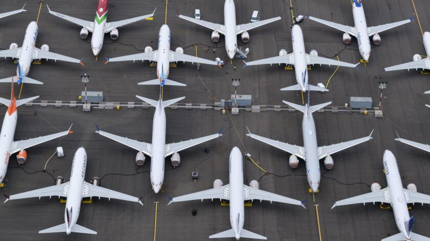 Grounded Boeing 737 Max jetliners in Seattle