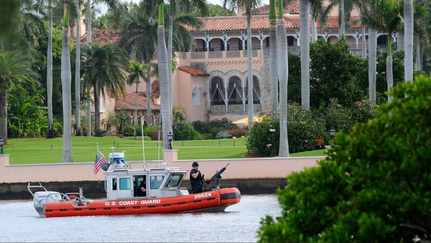 In November 2016, a Coast Guard boat passes through Mar-a-Lago, where then-President-elect Donald Trump was spending Thanksgiving.