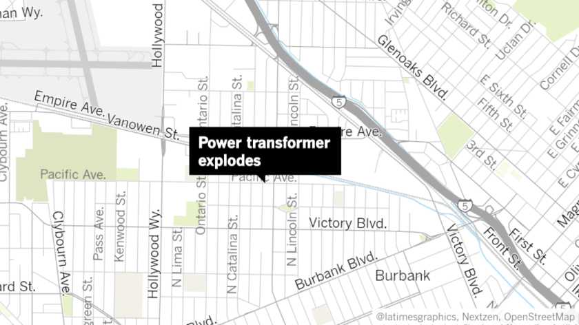 A power transformer exploded in the 2100 block of Pacific Avenue in Burbank on Friday, causing a small fire that required several residents to be evacuated from surrounding homes.