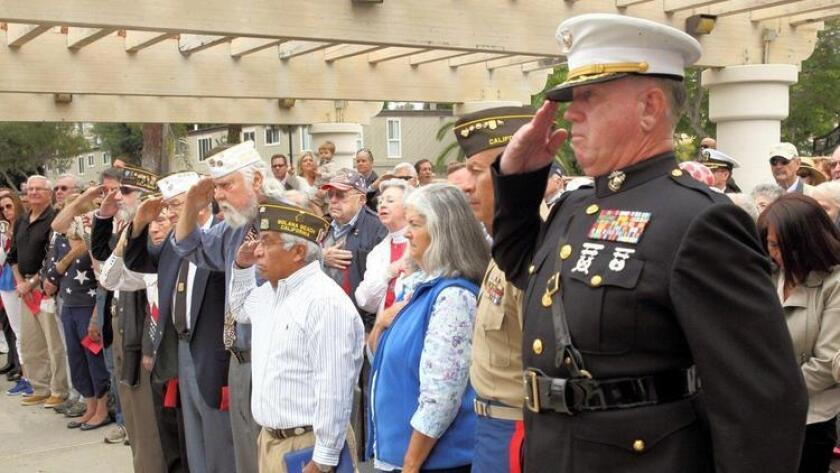 Participants at a previous Memorial Day ceremony in Solana Beach.