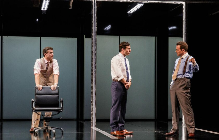 Armando Riesco, Josh Cooke and Matthew Rauch in the world premiere of 'Junk: The Golden Age Of Debt,' at La Jolla Playhouse