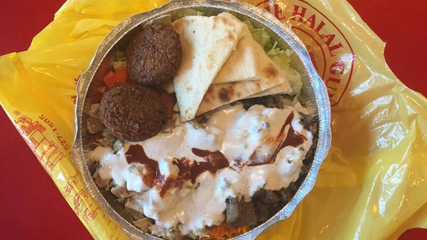 A platter of food from the Halal Guys.