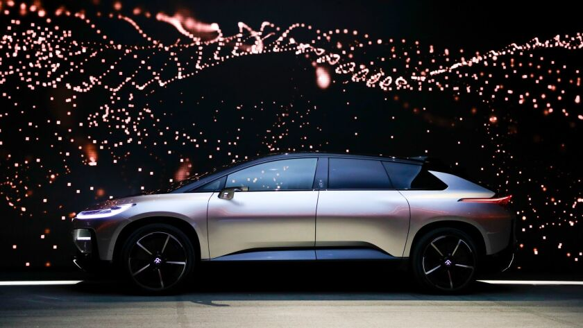 Faraday Future's FF91 electric car is unveiled during a news conference at CES International Tuesday